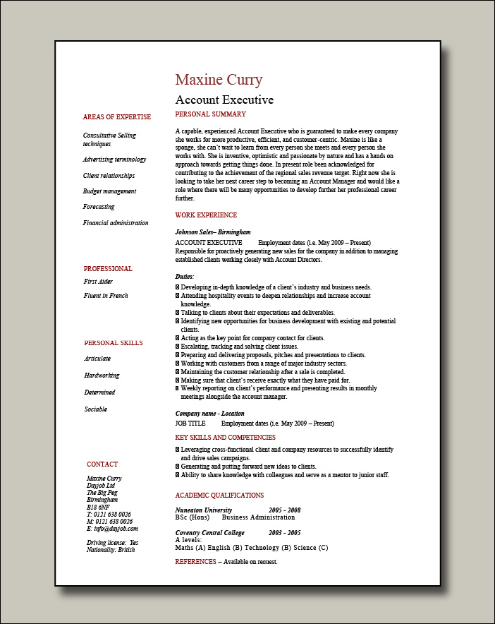 Account Executive resume - 1 page