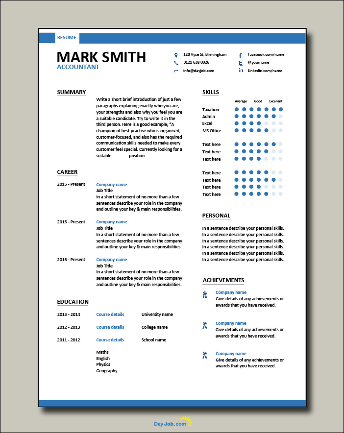 Accountant modern resume template - 1 page