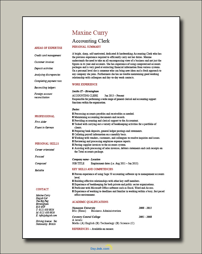 Accounting Clerk resume - 1 page