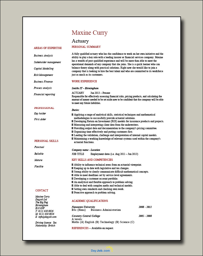 Actuary resume - 1 page