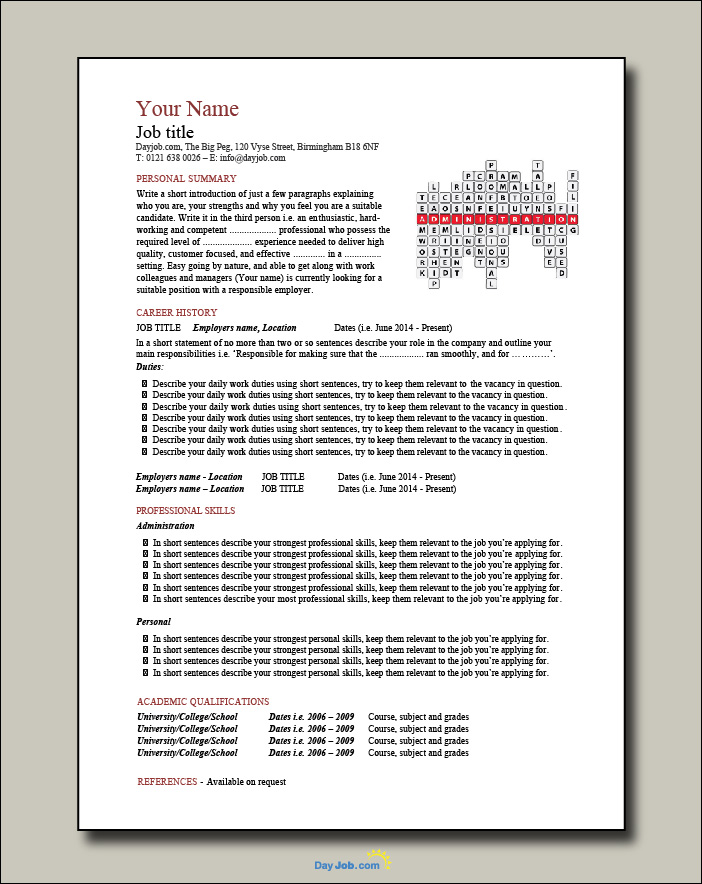 Administration crossword template - 1 page
