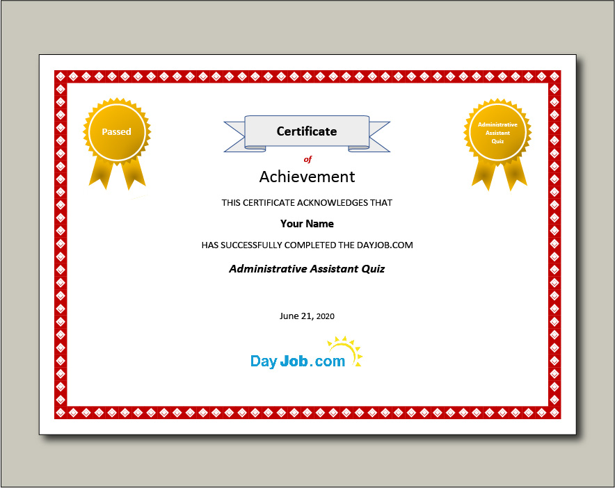 Administrative Assistant Quiz Certificate with name