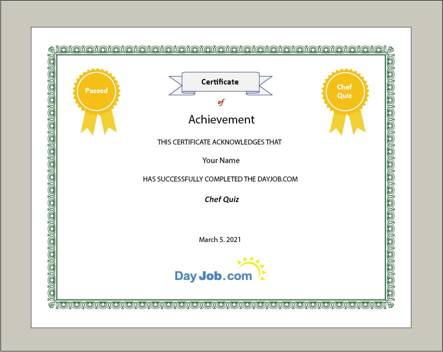Chef quiz certificate test