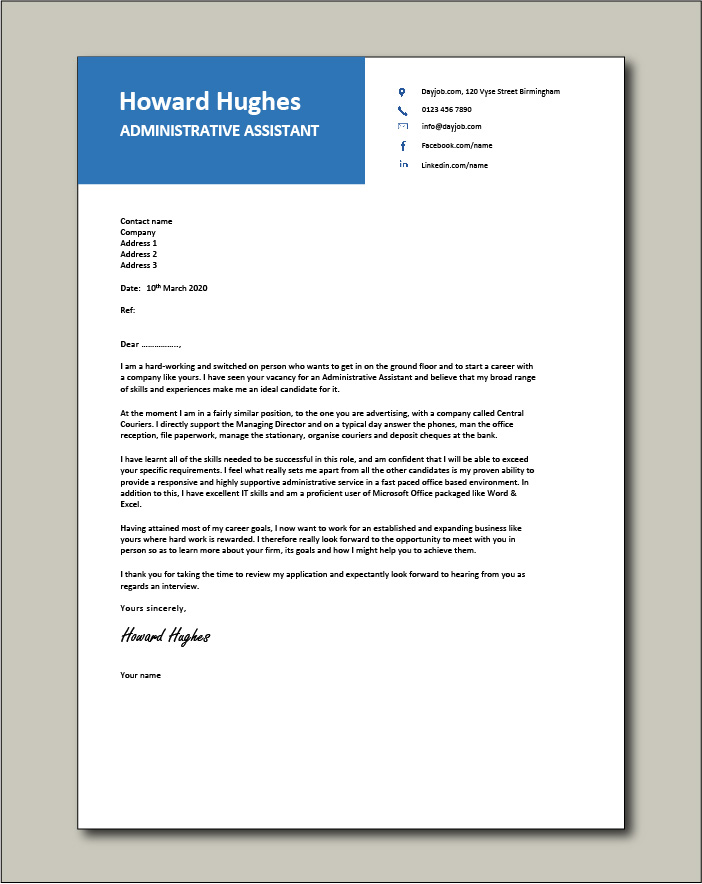 Free Administrative Assistant Cover letter example 2