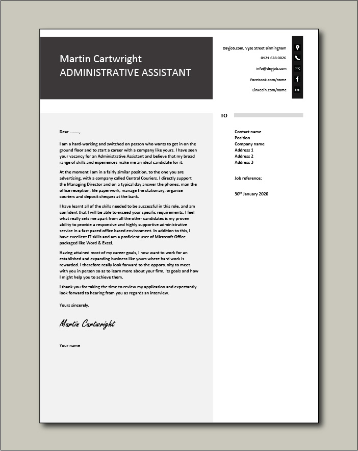 Free Administrative Assistant Cover Letter Example 4