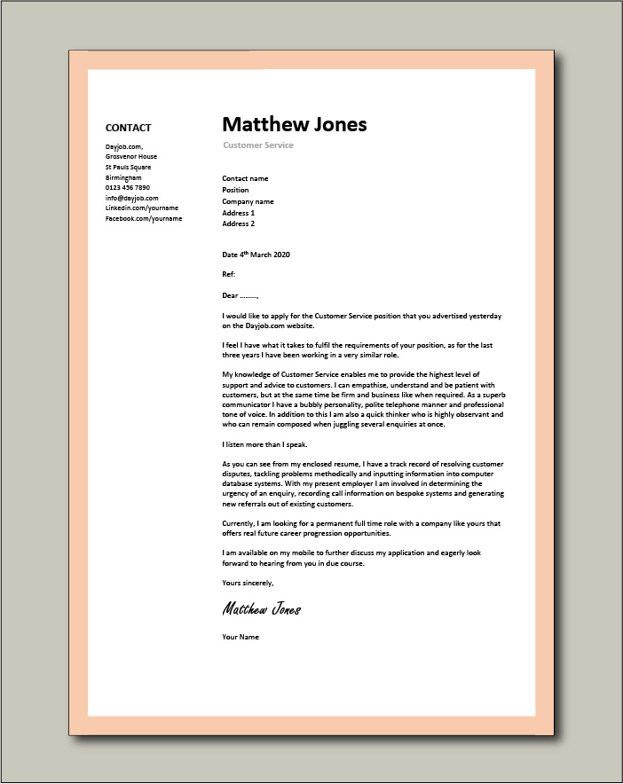 Cover Letter For Customer Service from www.dayjob.com