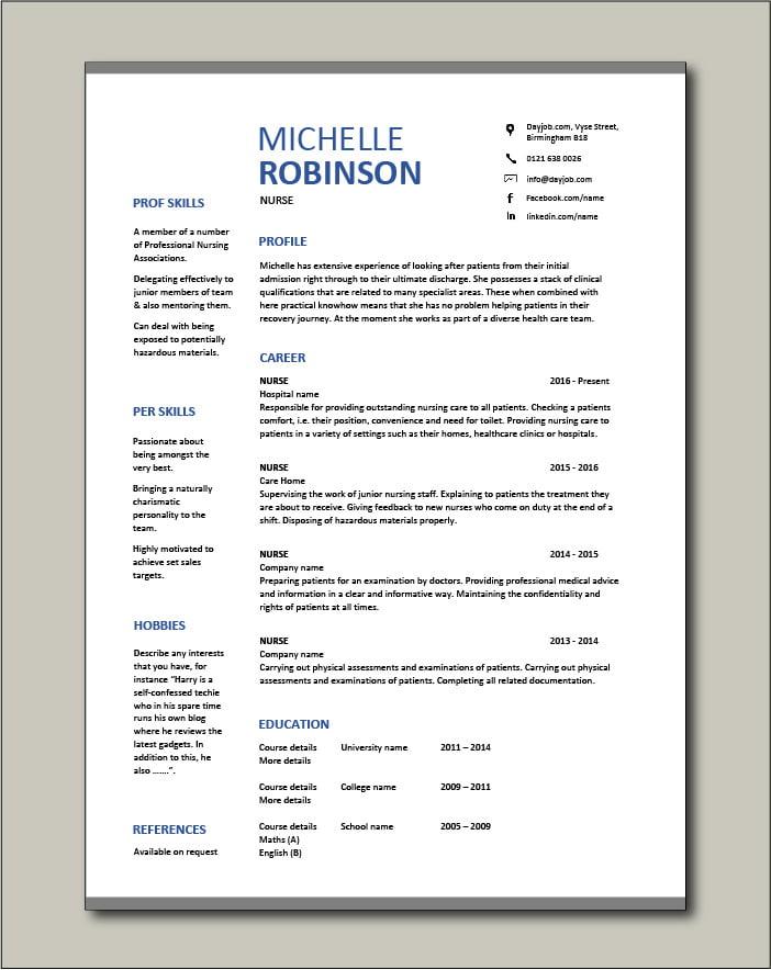 Free Nurse CV template 8