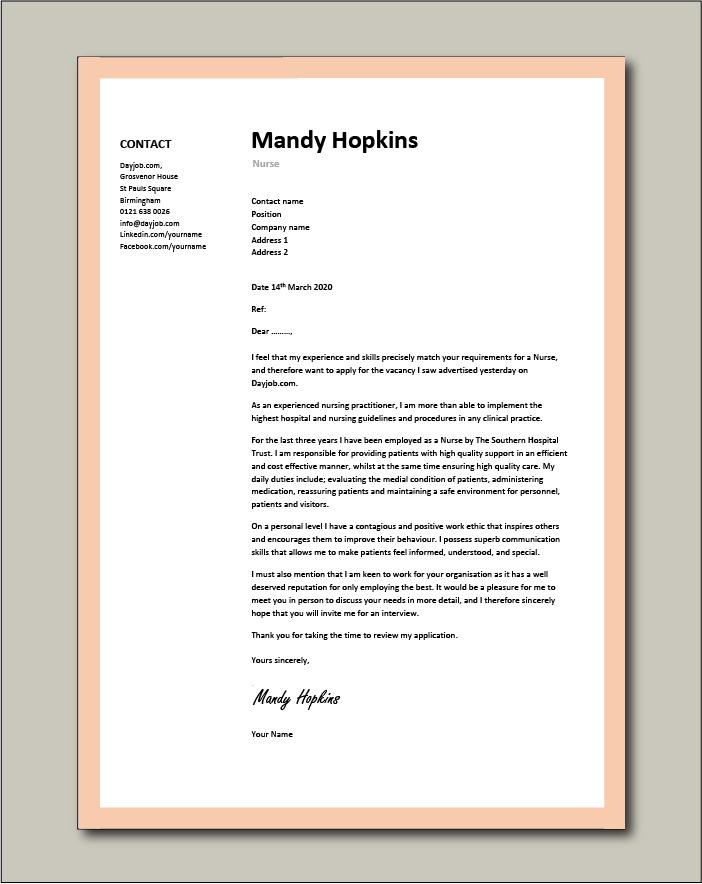 Free Nurse cover letter example 5