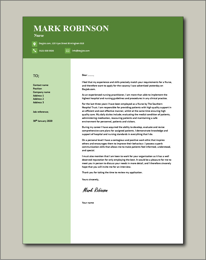 Free Nurse cover letter example 6