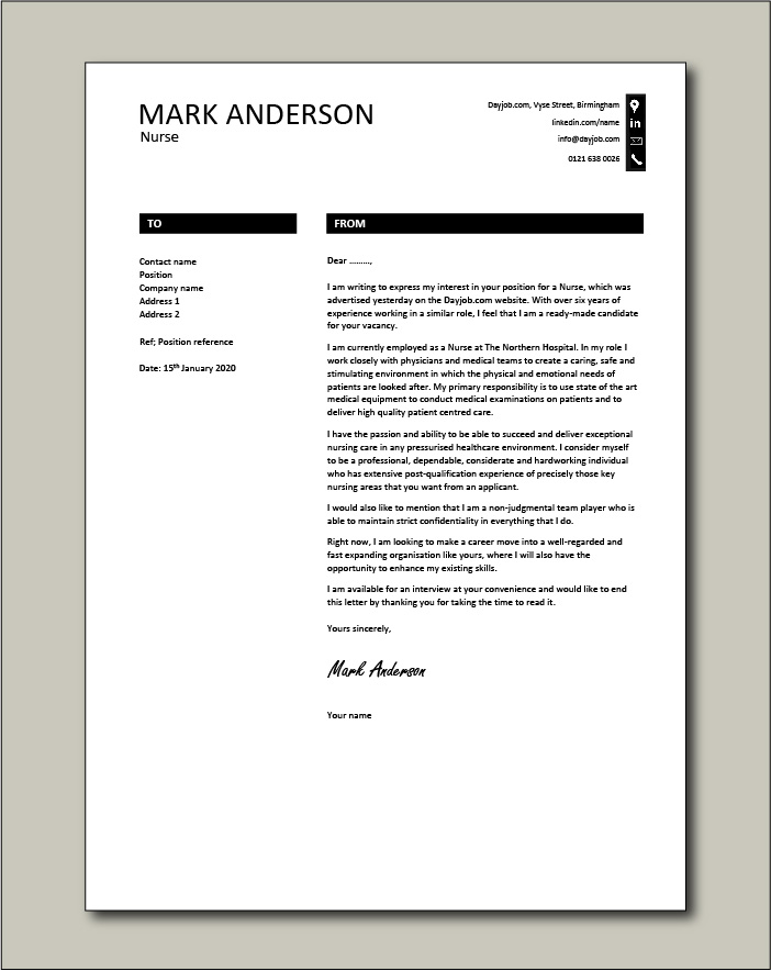 Free Nurse cover letter example 9