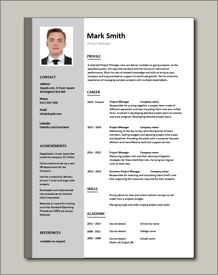 Free Project Manager CV 1 - 1 page