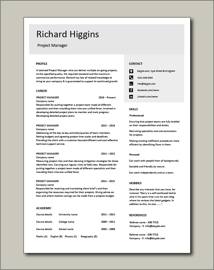 Free Project Manager CV template 4