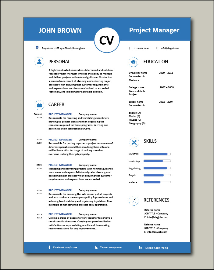 Free Project Manager CV template 5
