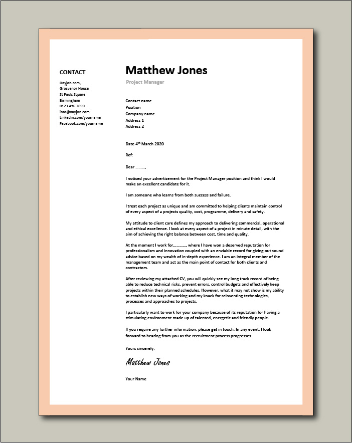 Free Project Manager Cover letter example 1