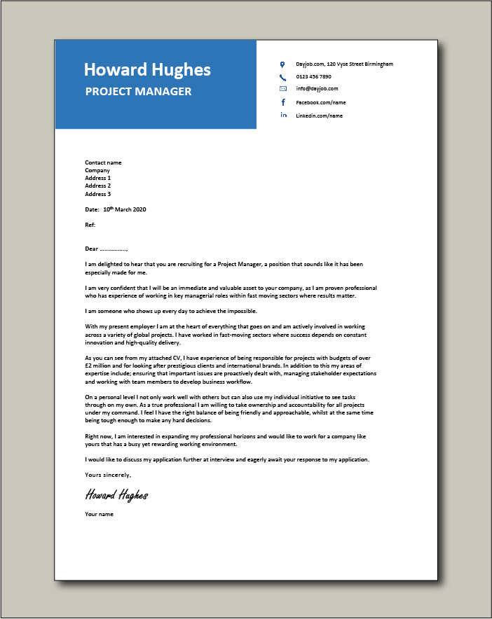 Free Project Manager Cover letter example 2