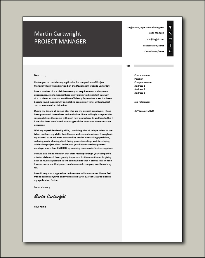 Free Project Manager Cover letter example 4