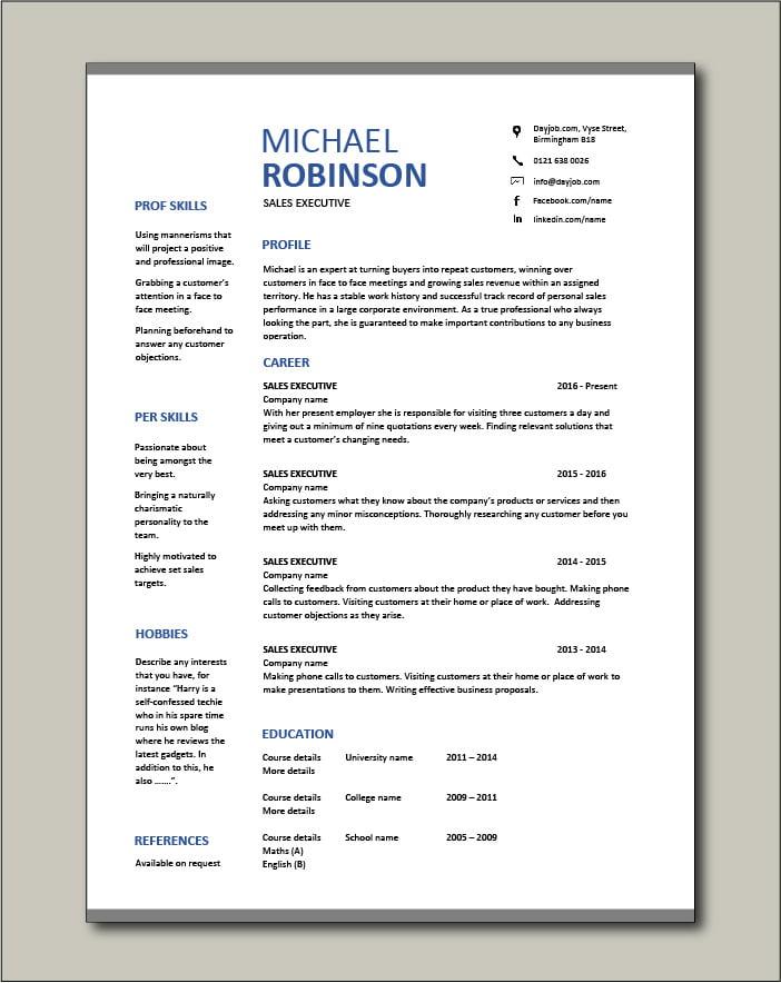 Free Sales Executive CV template 4