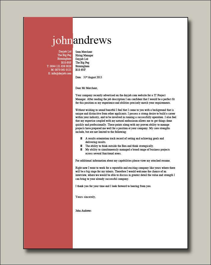 IT Project Manager resume 2 cover letter