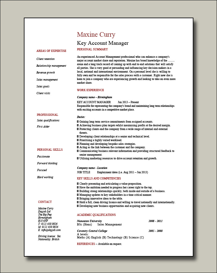 Key Account Manager resume - 1 page