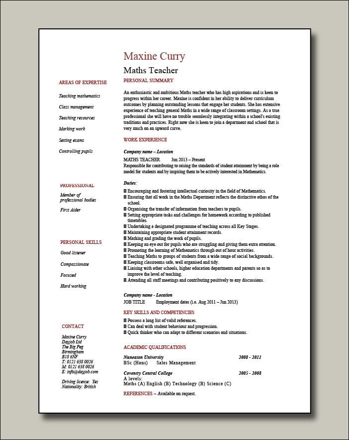 Maths-Teacher-CV-1-page