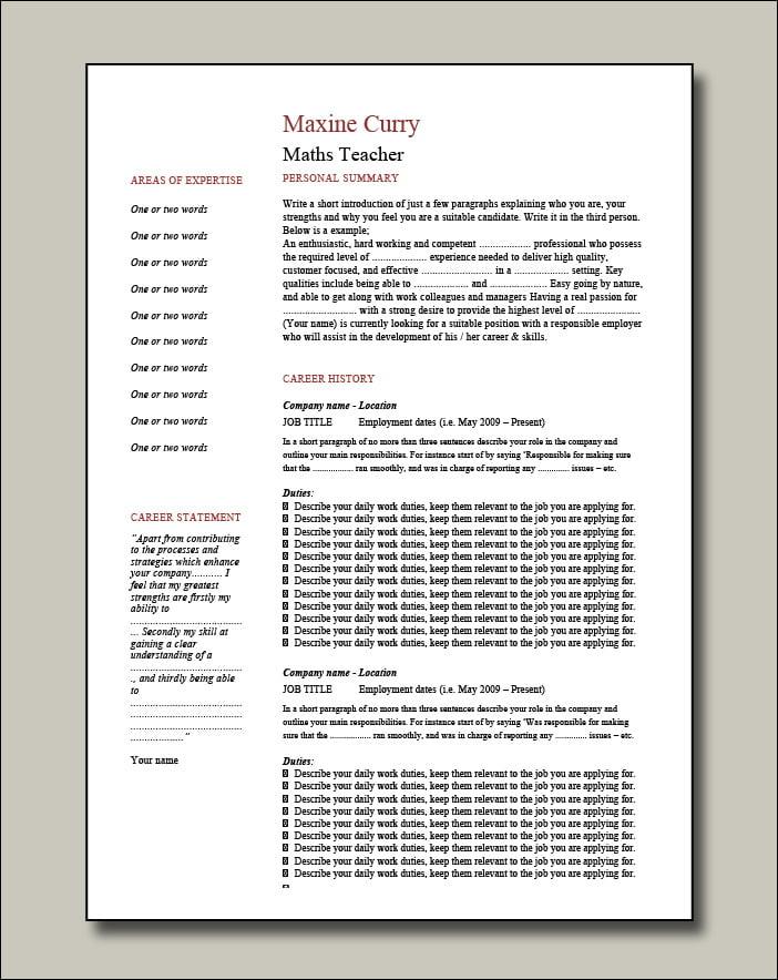 Maths-Teacher-CV-2-pages