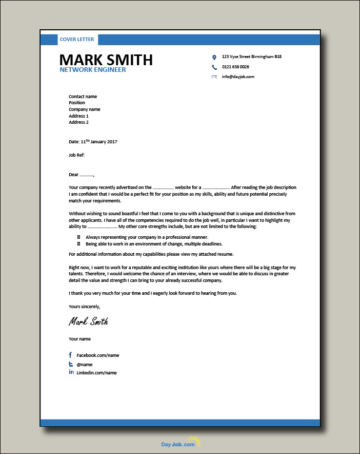 Network Engineer resume 2 - Cover letter