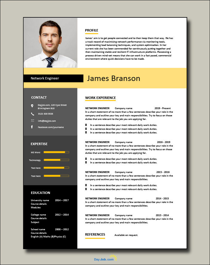 Network Engineer resume template 1-1-page