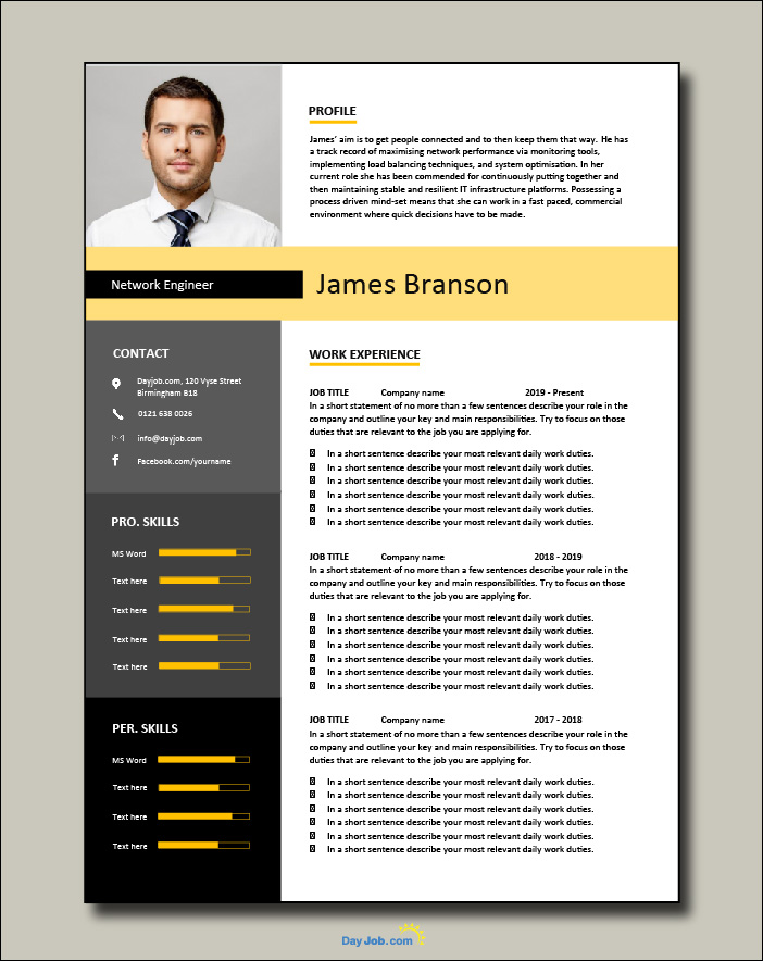 Network Engineer resume template 1-2-page