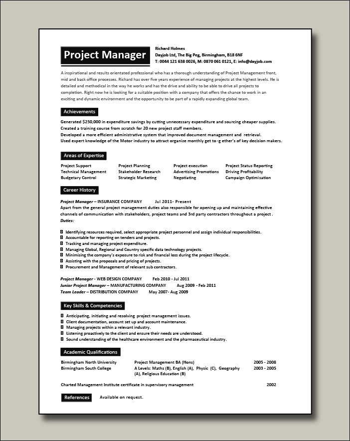 Project Manager CV 7 - 1 page