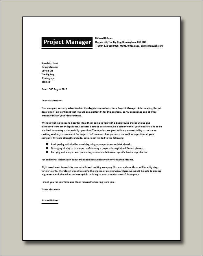Project Manager CV 7 cover letter