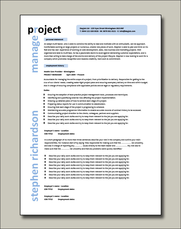 Project Manager CV example 1 - 2 pages