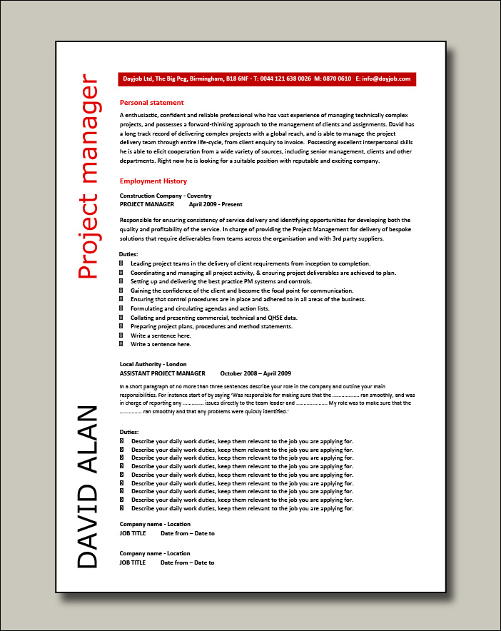 Project Manager CV example 4 - 2 pages