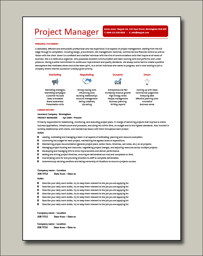 Project Manager CV example 6 - 2 pages