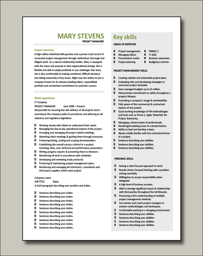 Project Manager CV example 9 - 2 pages