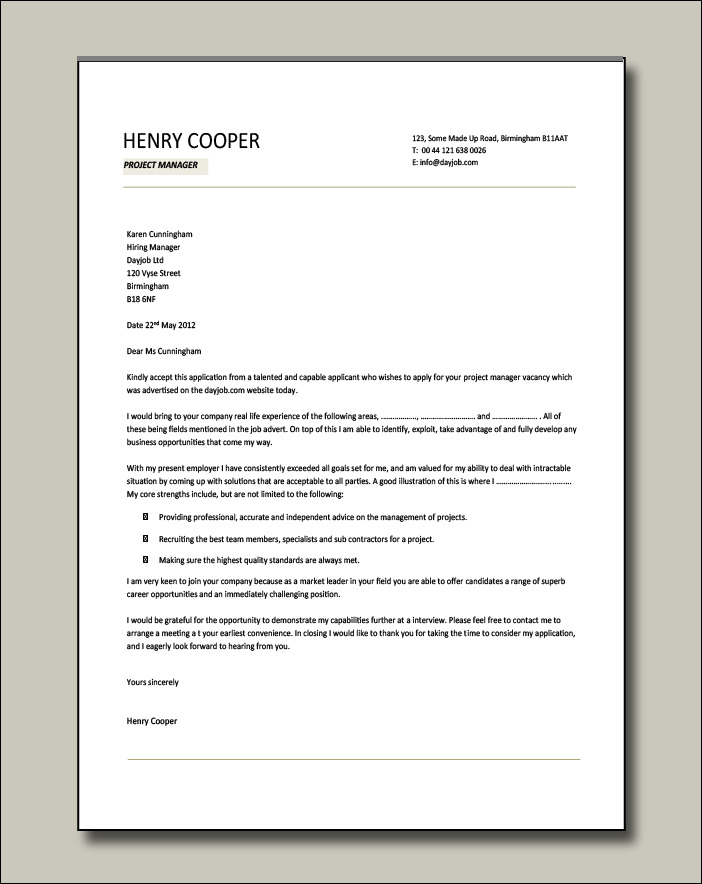 Project Manager cover letter example 3