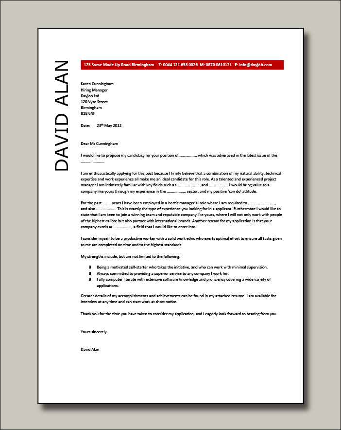 Project Manager cover letter example 4
