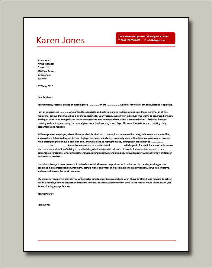 Project Manager cover letter example 6