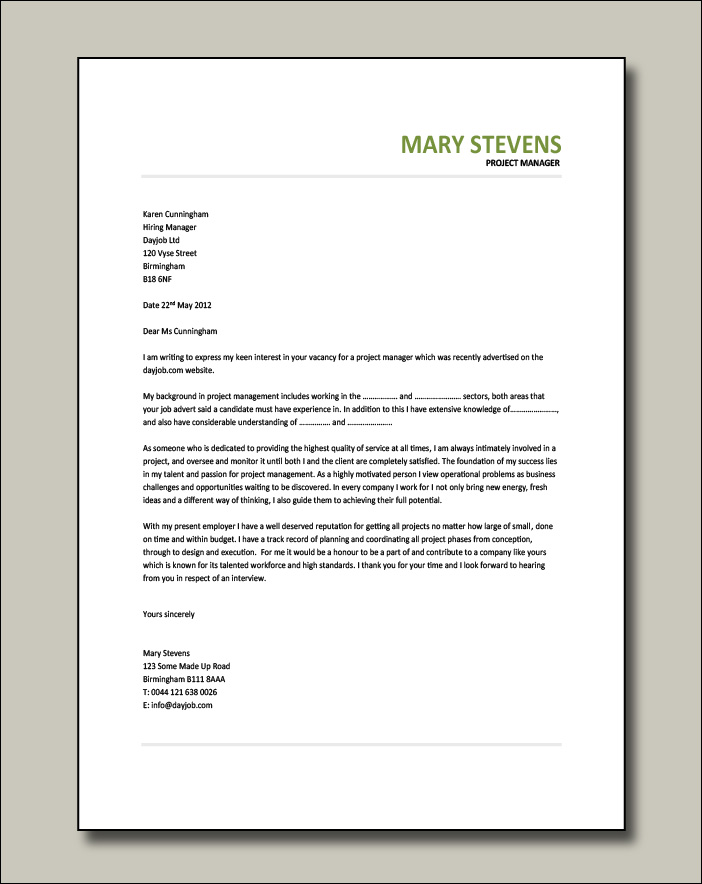 Project Manager cover letter example 9