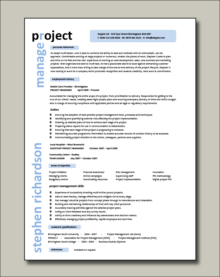Project manager CV example 1 - 1 page