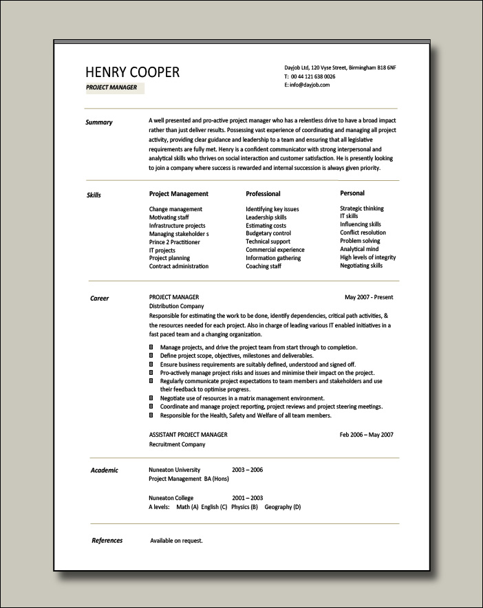 Project manager CV example 3 - 1 page