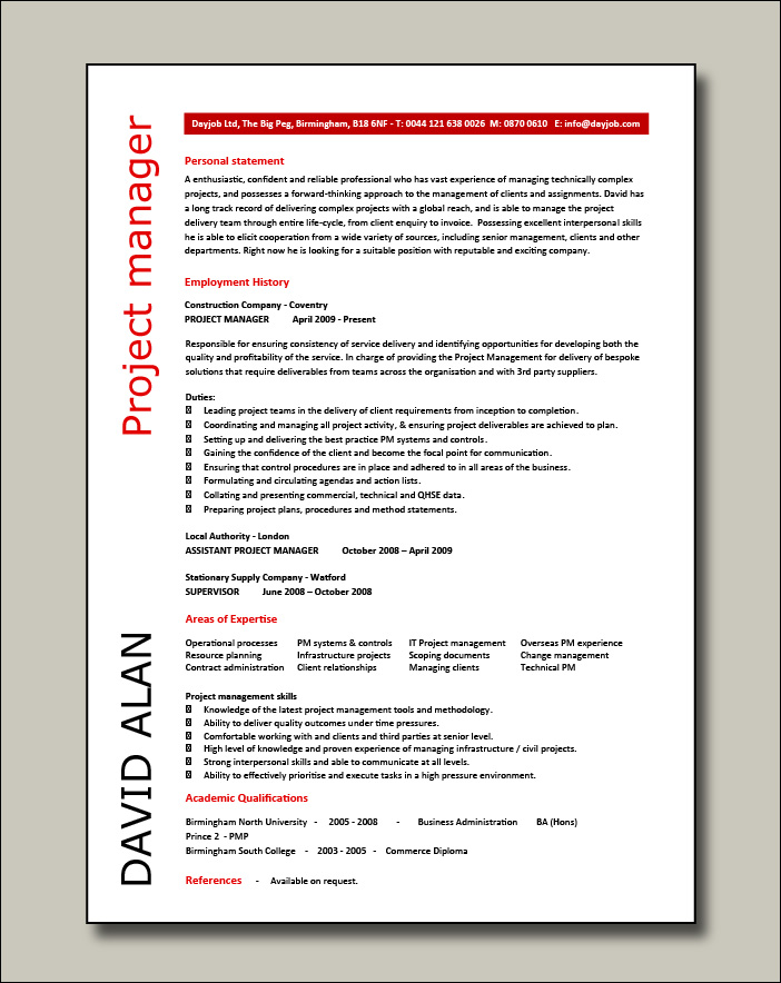 Project manager CV example 4 - 1 page