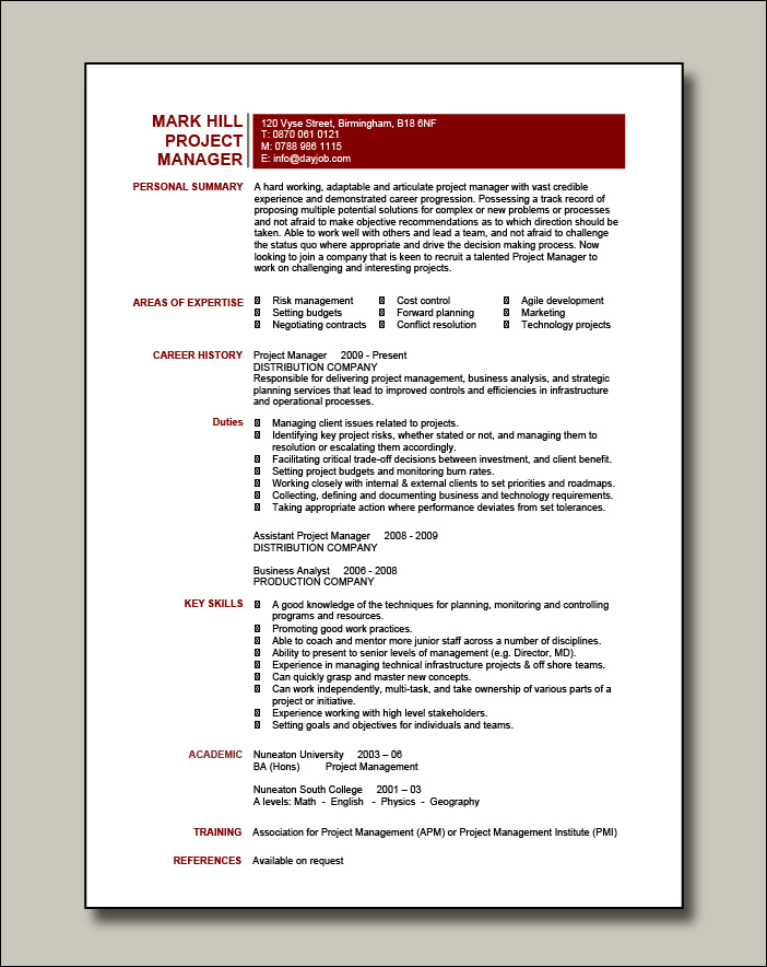 Project manager CV example 5 - 1 page