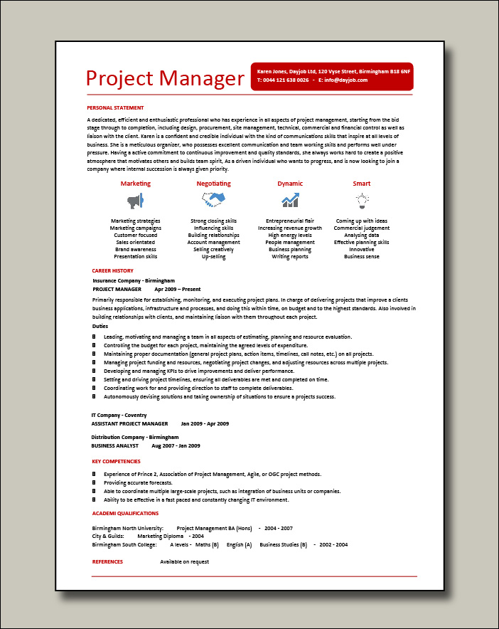 Project manager CV example 6 - 1 page