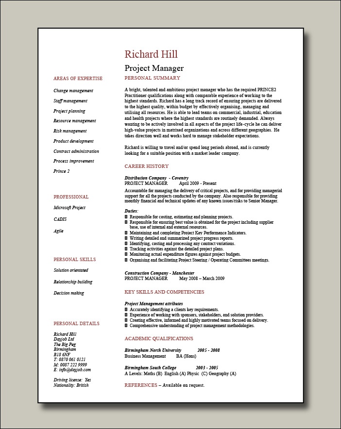 Project manager CV example 8 - 1 page
