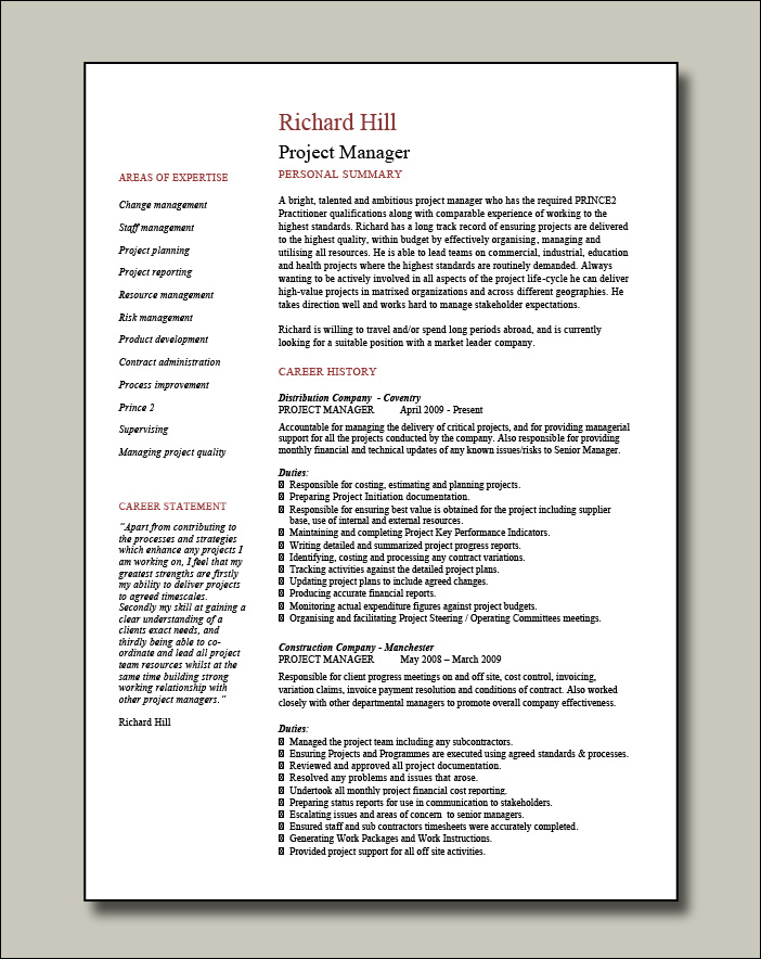 Project manager CV example 8 - 2 pages
