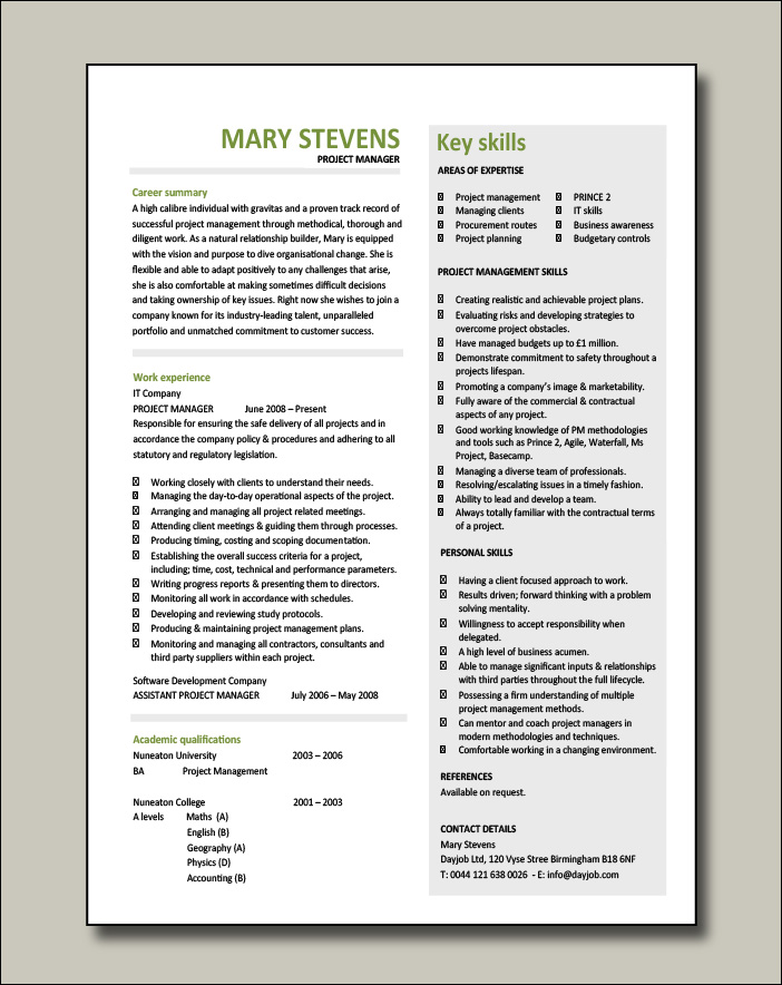 Project manager CV example 9 - 1 page