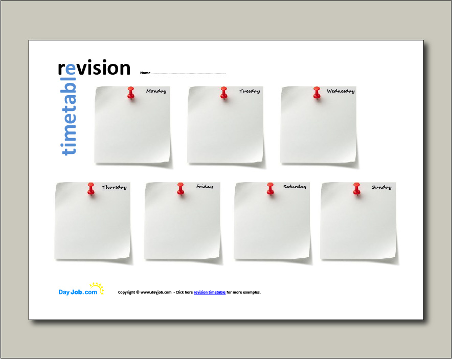 Revision timetable example 4 - week