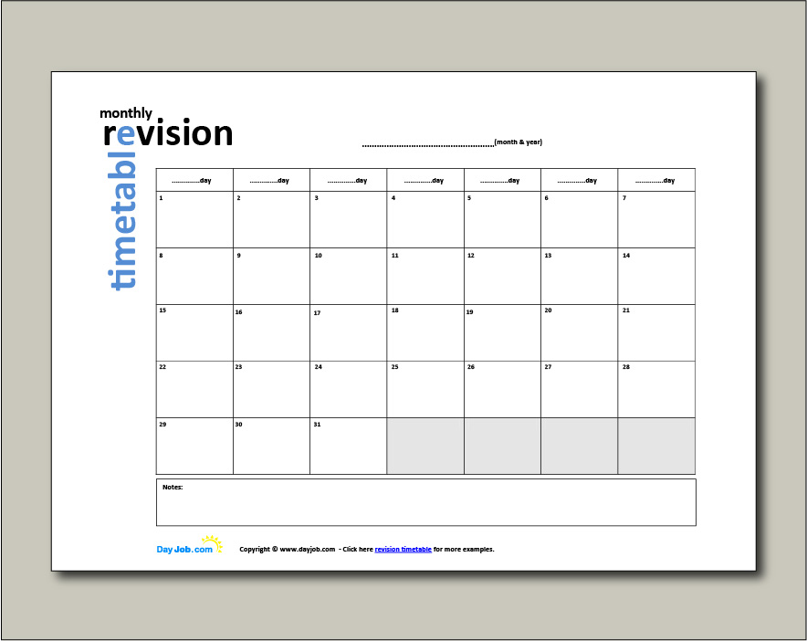 Revision timetable example 5 - month