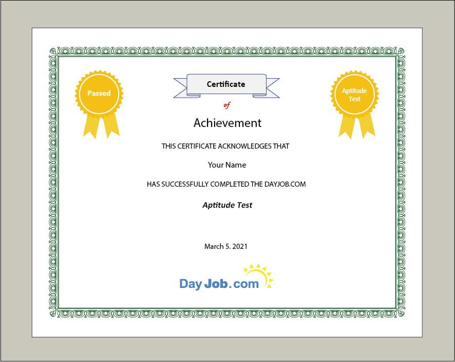 aptitude test certificate quiz