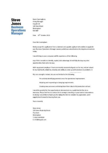 customer service, for commercial finance, retail category, for operation, on operations manager application letter